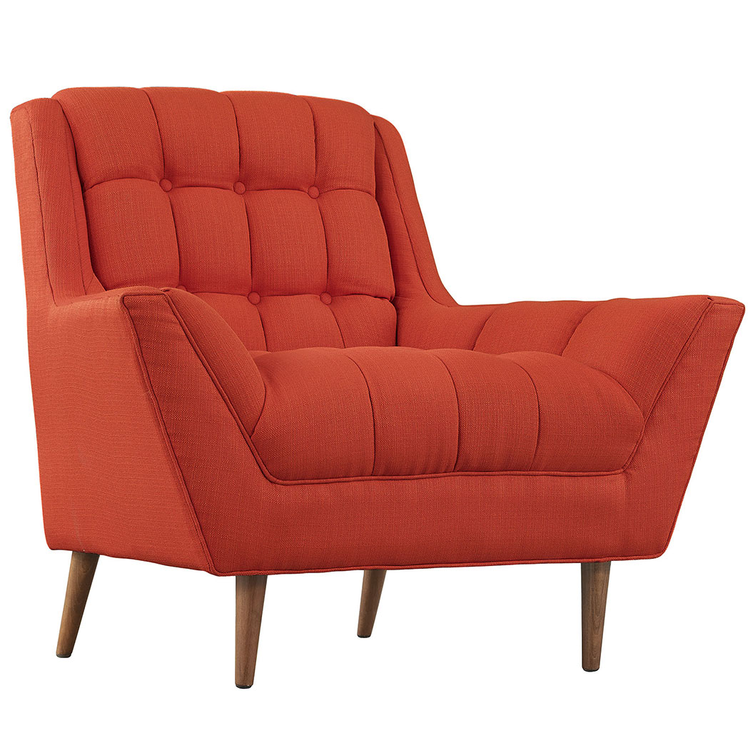 hued red orange armchair