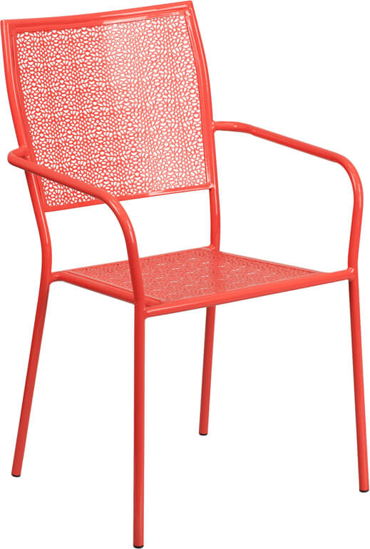 metal brocade chair red