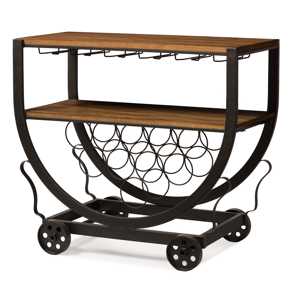 Steampunk Wood Metal Rolling Bar Cart 1 461x614