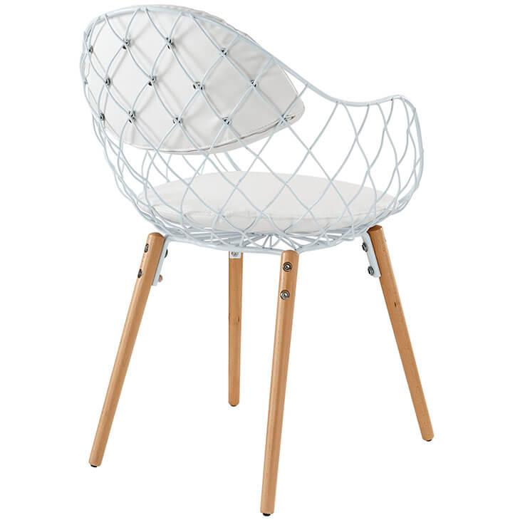 white wire basket chair