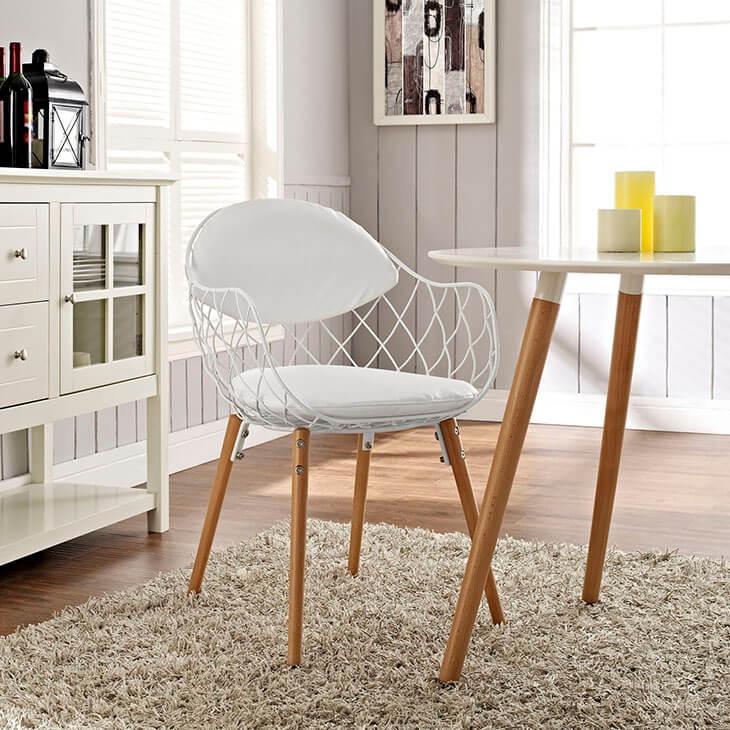 white wire modern chair