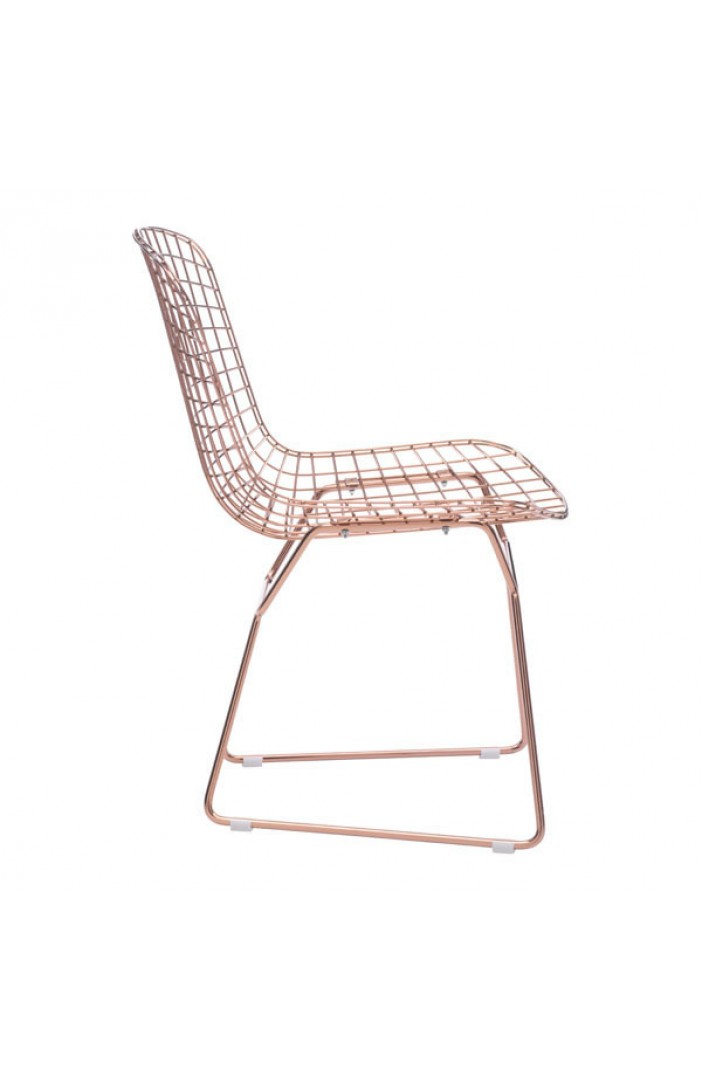 wire chair rose gold