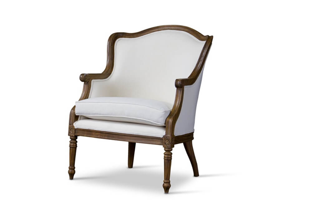 french accent chair walnut wood