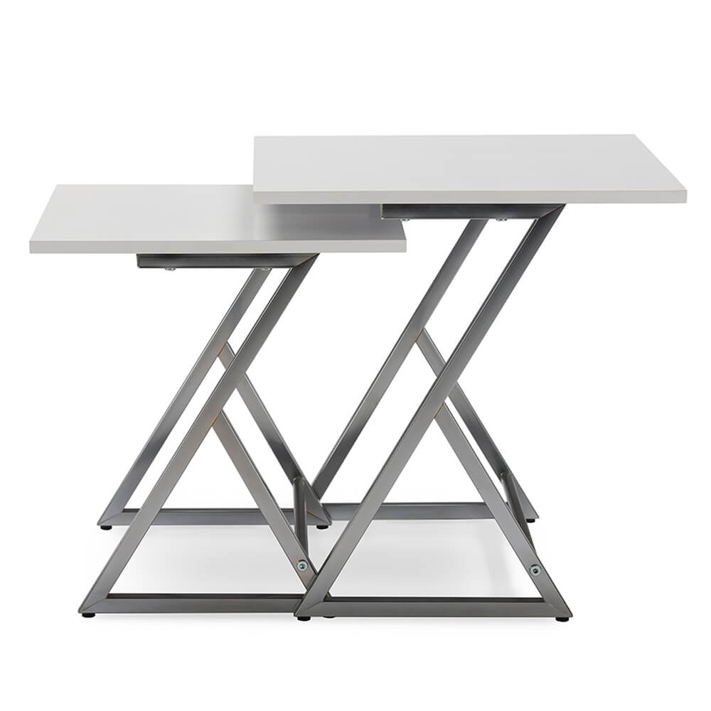 milan white nesting table set