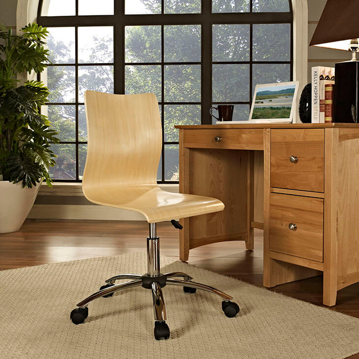 natural wood task office chair 2
