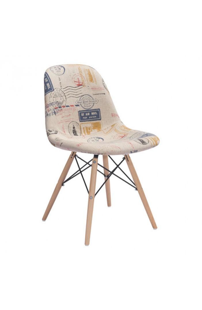 air mail print fabric chair