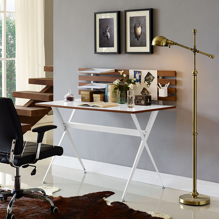home office desk with backboard