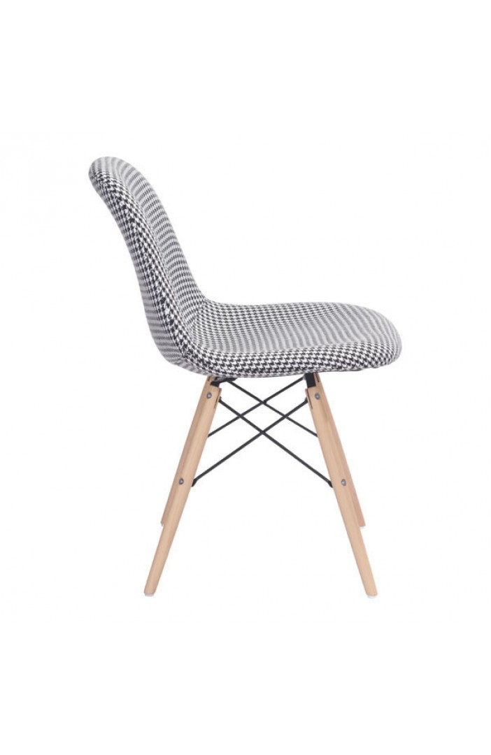 houndstooth fabric chair mid century