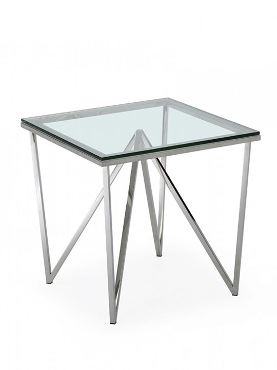 glass chrome end table