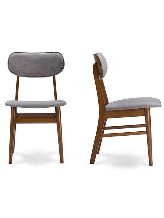 Joma Grey Fabric Mid Century Chair