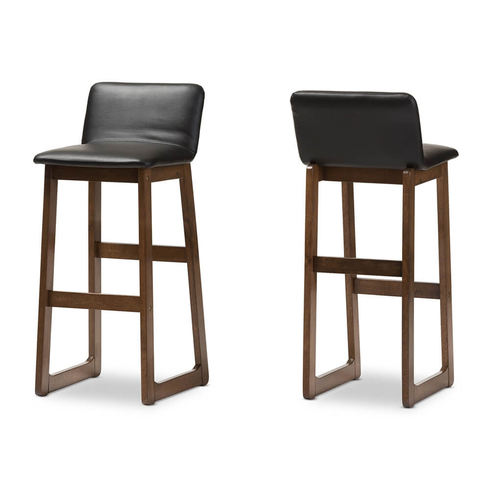 Lester walnut wood black leather Barstool 3