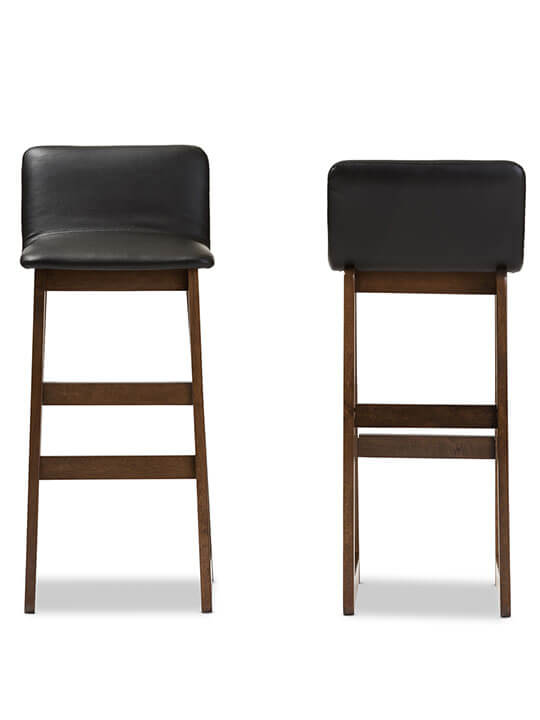 Lester walnut wood black leather Barstool 4