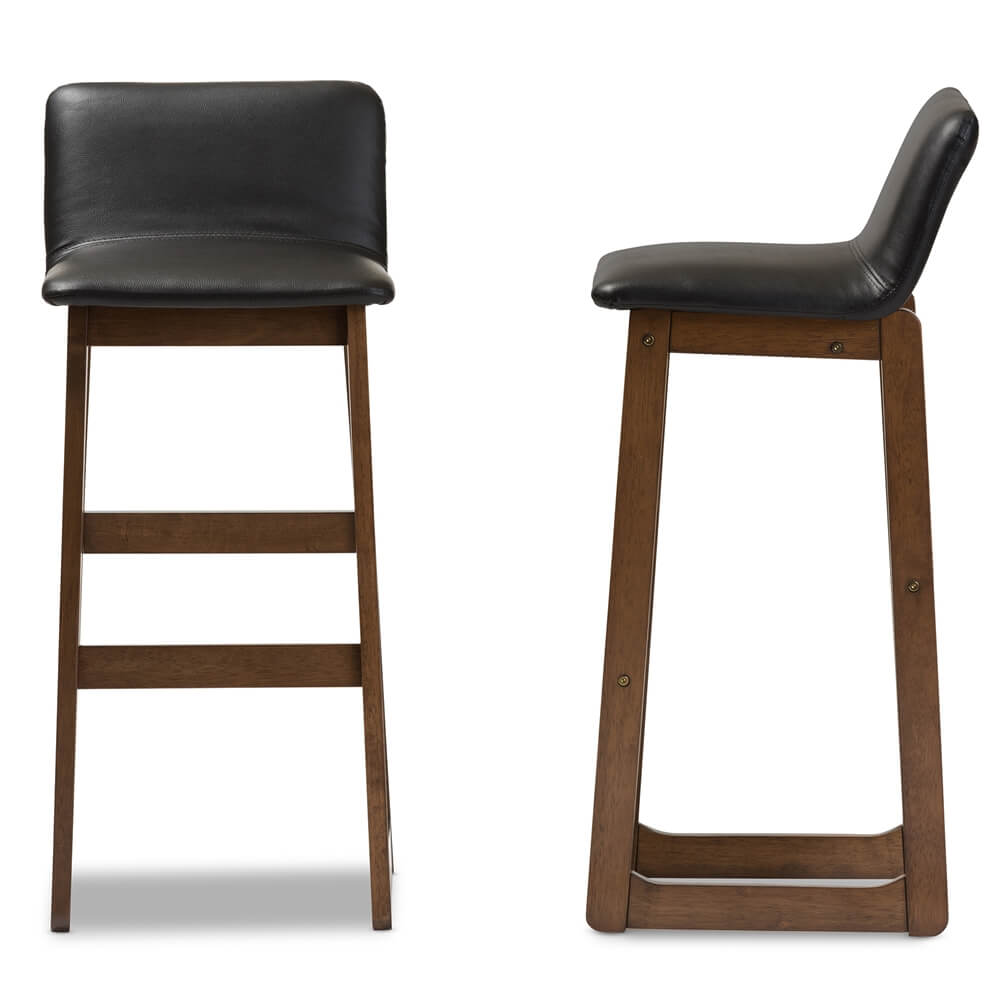 Lester walnut wood black leather Barstool