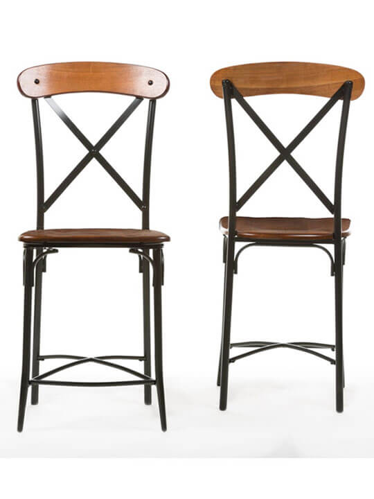 X industrial wood barstool