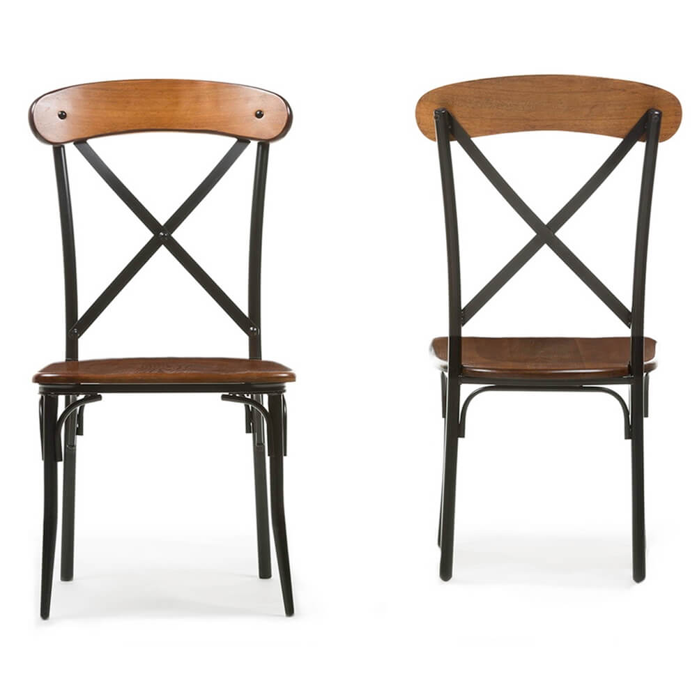 X wood industrial chair set 2