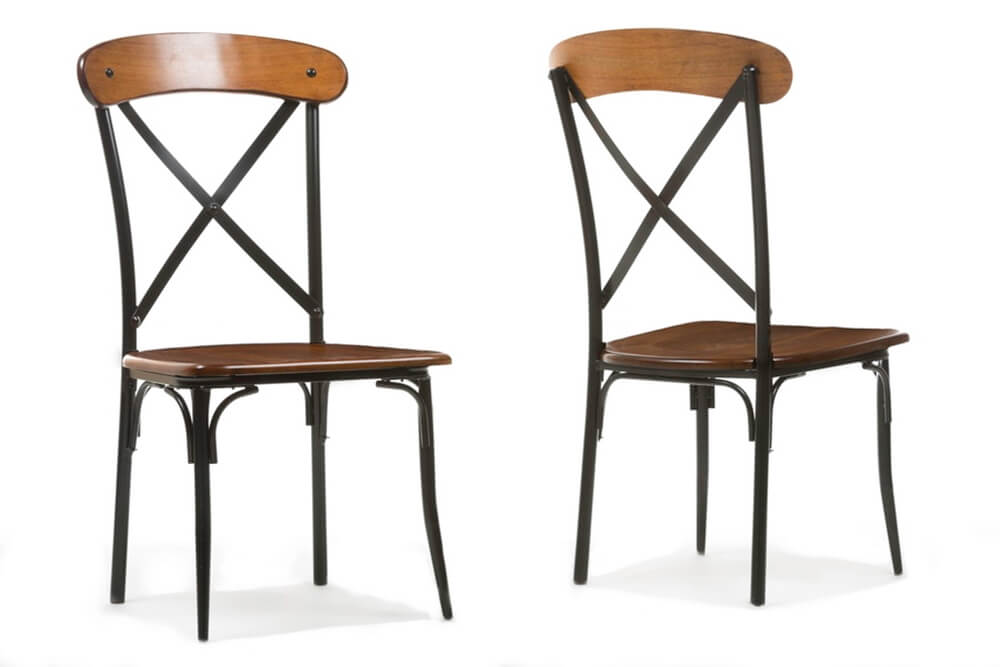 X wood industrial chair set 3