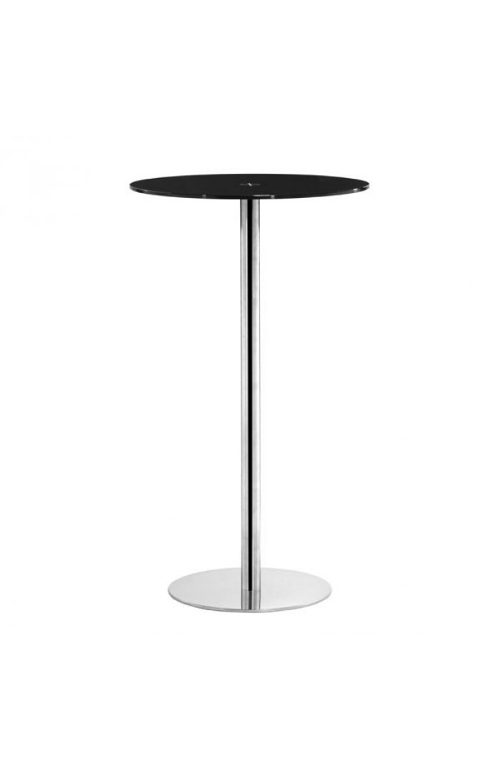 black circle glass bar table