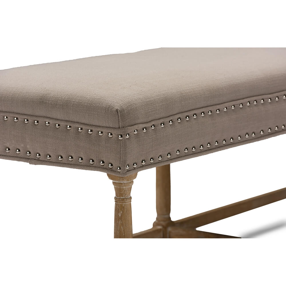 hester taupe fabric bench 4