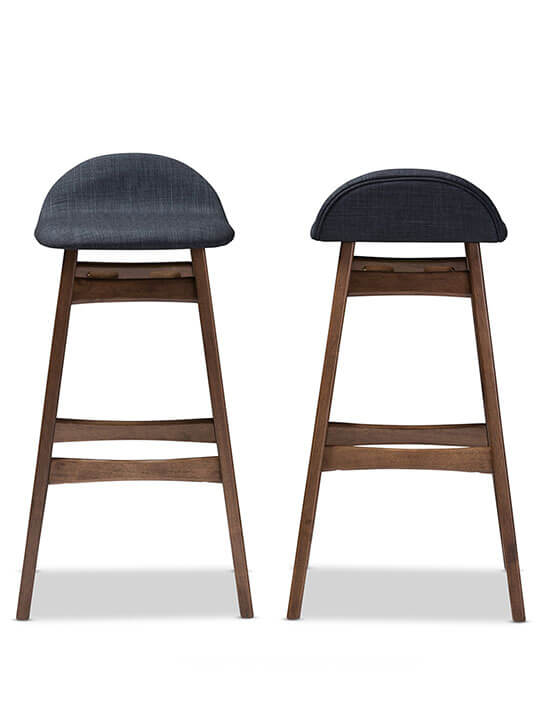 blue fabric barstool