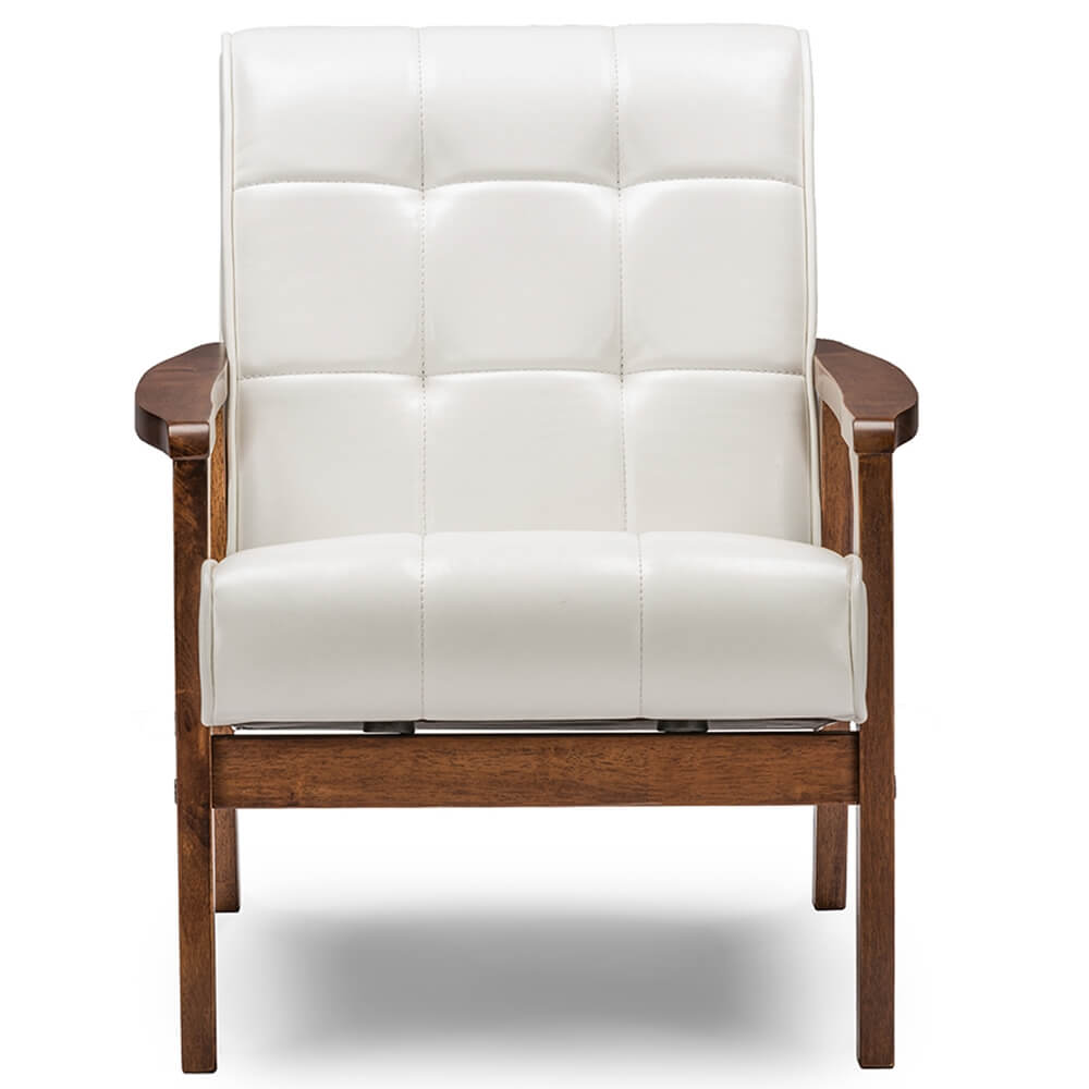 Baxton Studio Masterpiece Mid Century White Faux Leather: Modern Furniture €� Brickell Collection