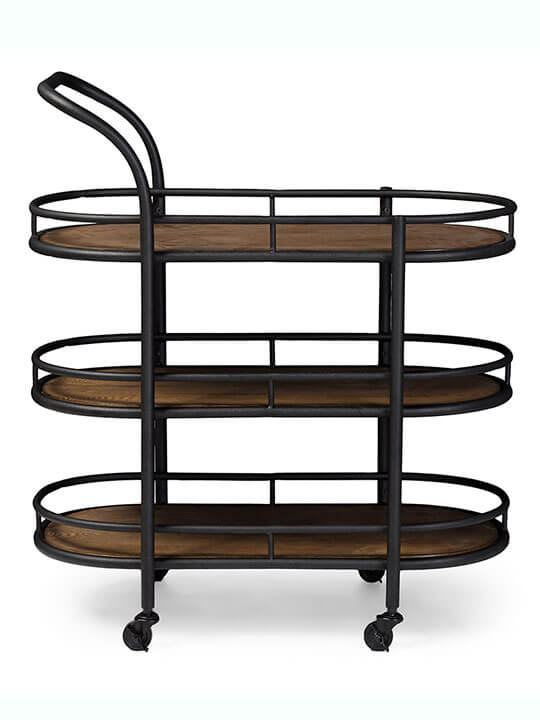wood rounded tray bar cart