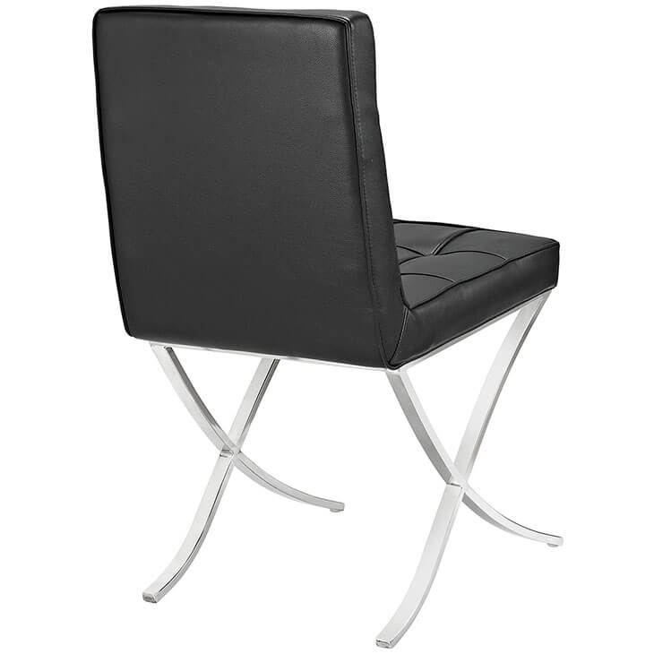 contemporary chrome x chair black leather 3