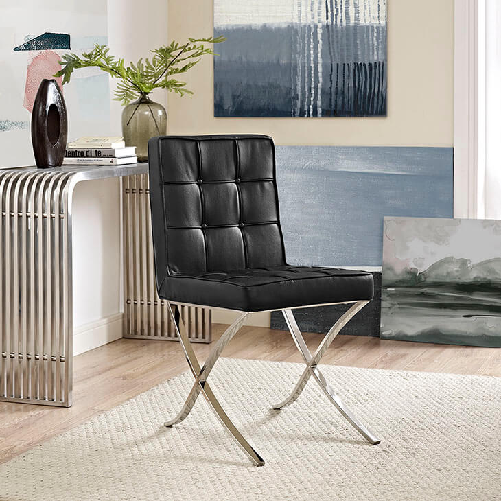 contemporary chrome x chair black leather
