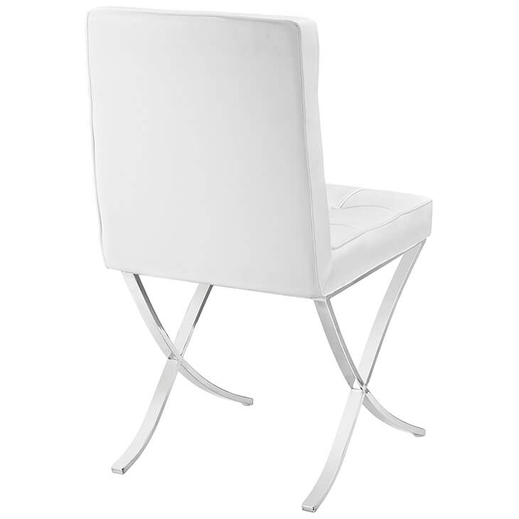 contemporary chrome x chair white leather 3