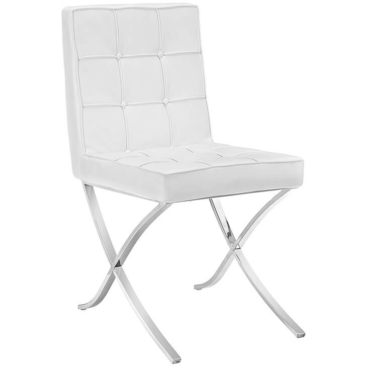 contemporary chrome x chair white leather