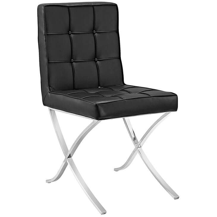 contemporary leather chrome chair