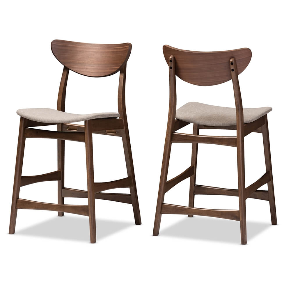 scandinavia barstool walnut wood grey fabric