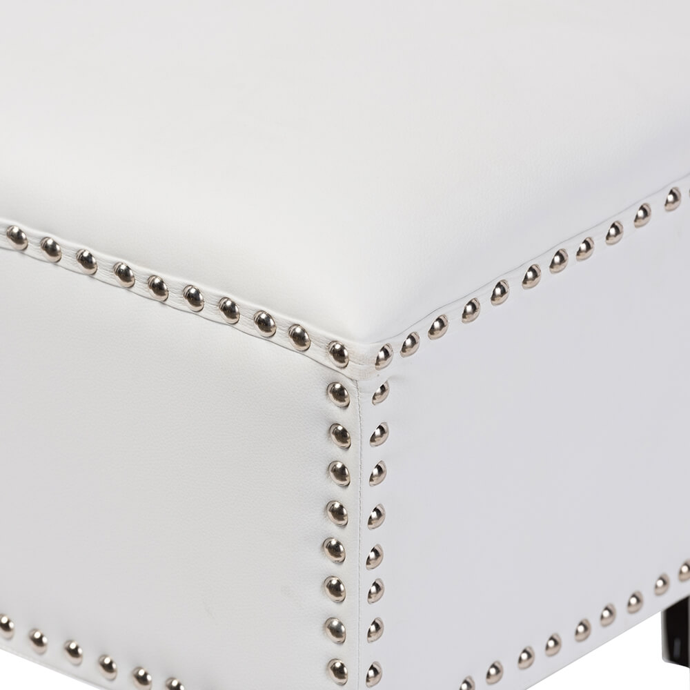 tufted stud white leather ottoman 2