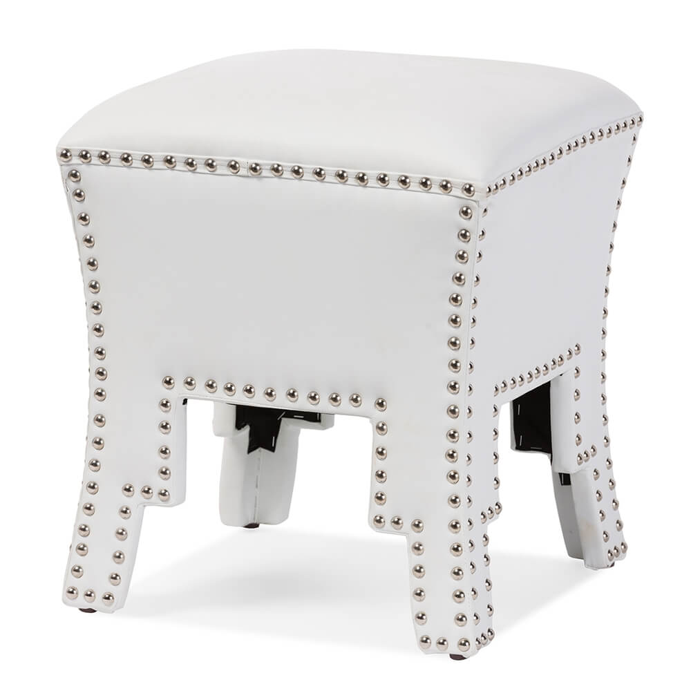tufted stud white leather ottoman 3