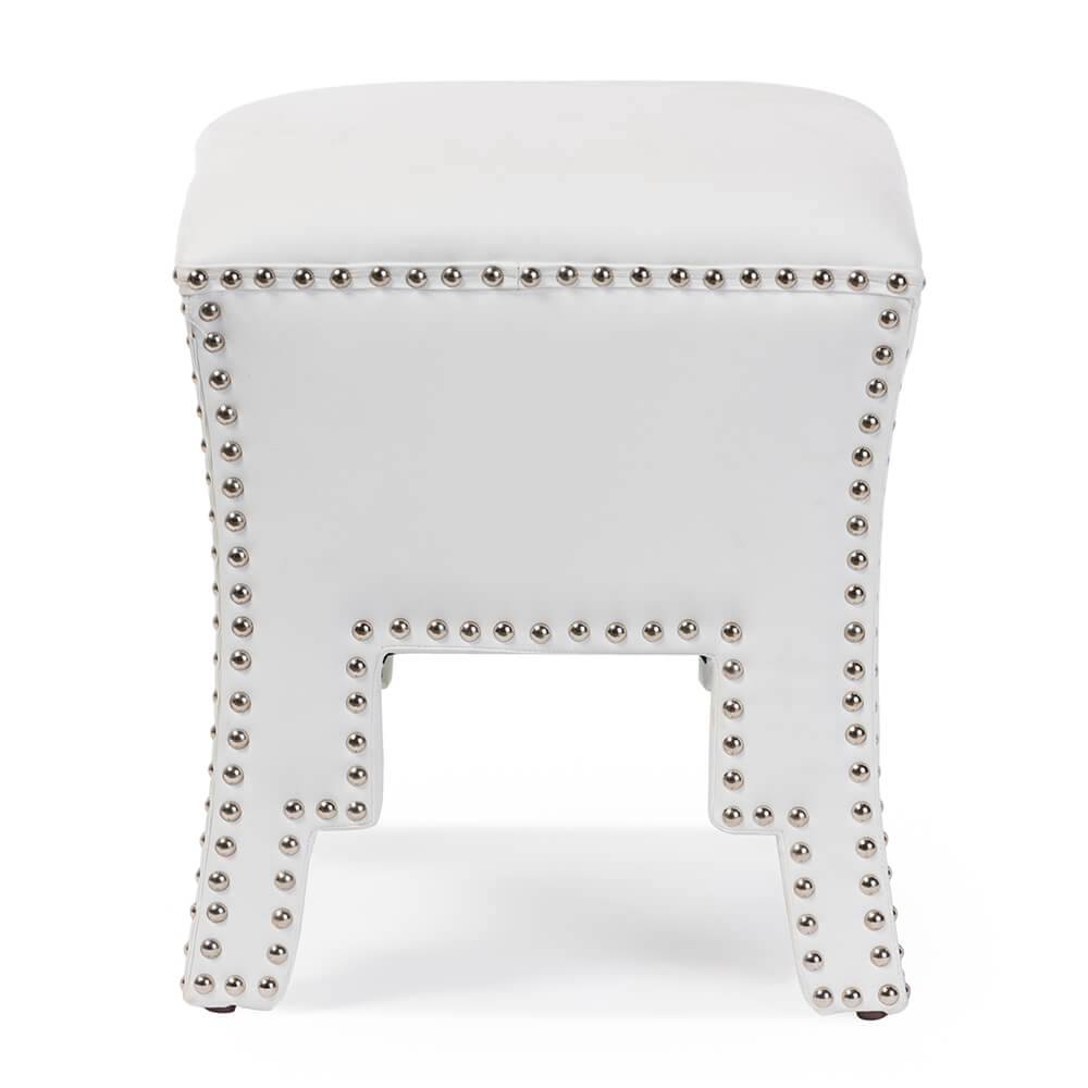 tufted stud white leather ottoman