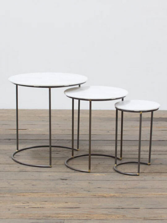 Marble Round Nesting Table Set