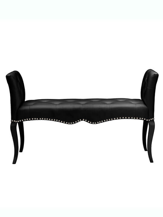 Nailhead tufted leather bench
