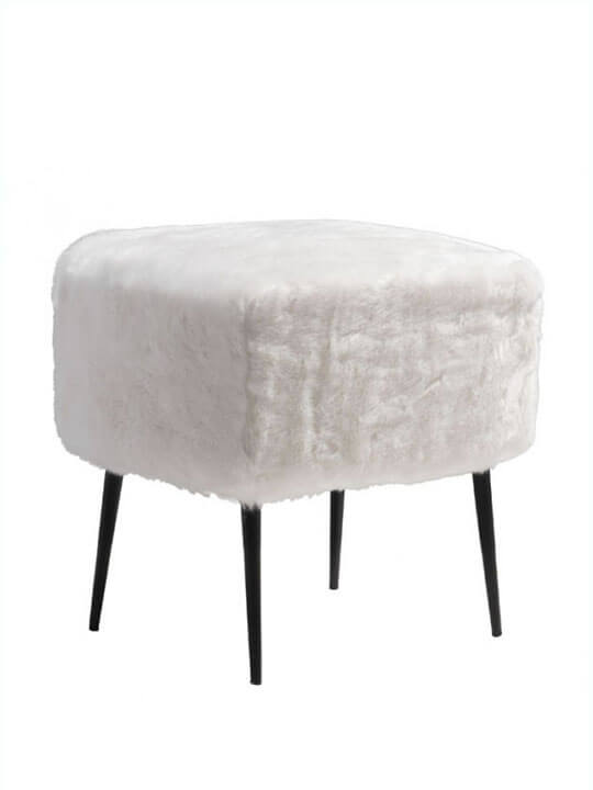 White Faux Fur Mid Century Stool