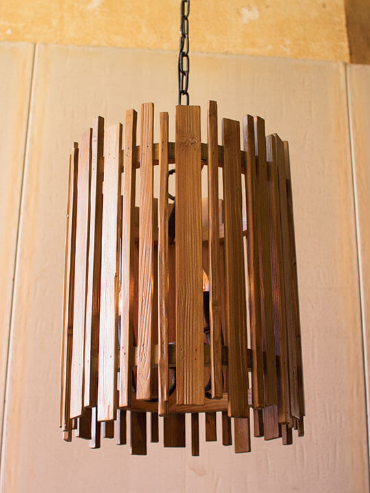 wood slat pendant lighting