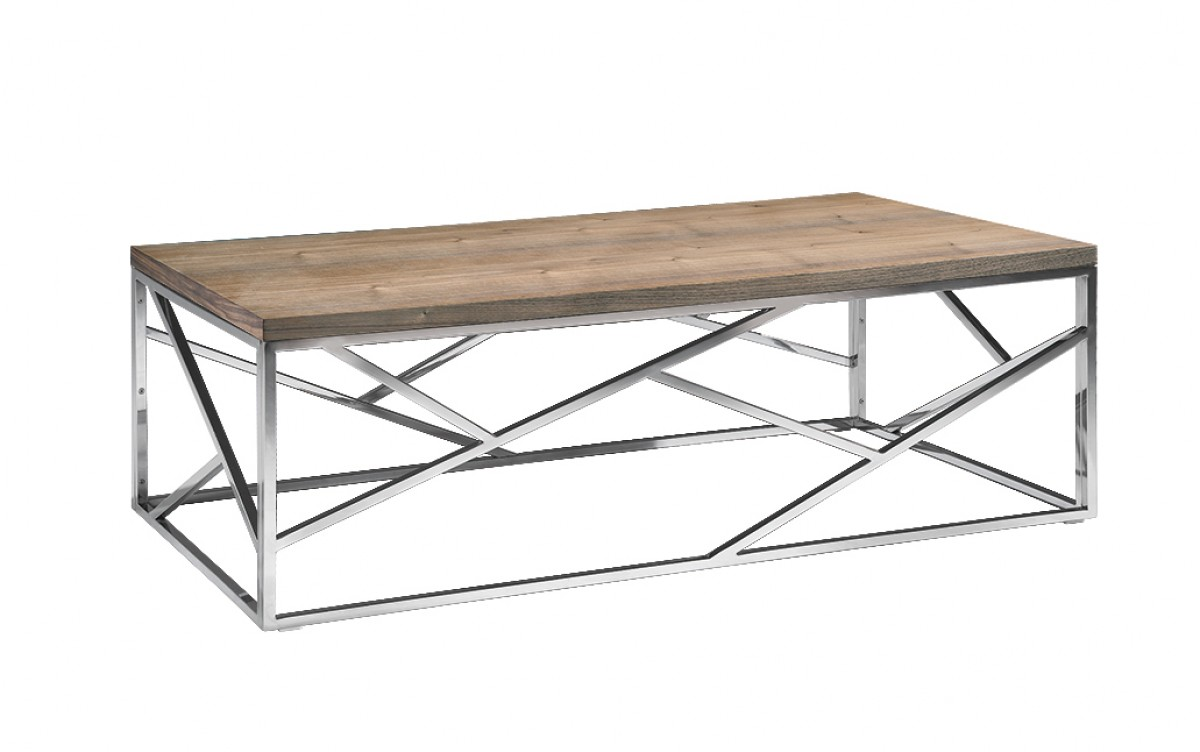 Aero Chrome Wood Coffee Table | Modern Furniture • Brickell Collection
