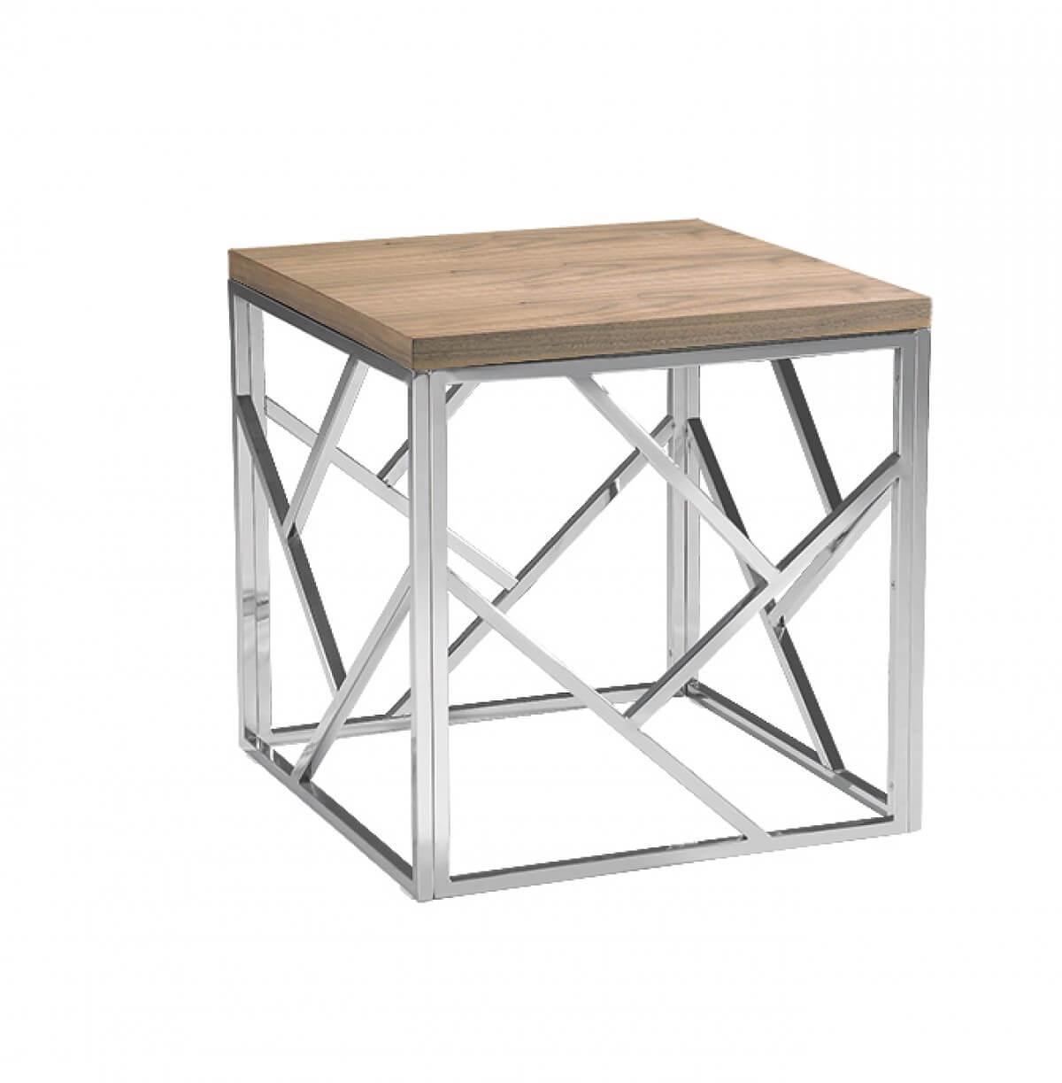 aero chrome wood side table 3