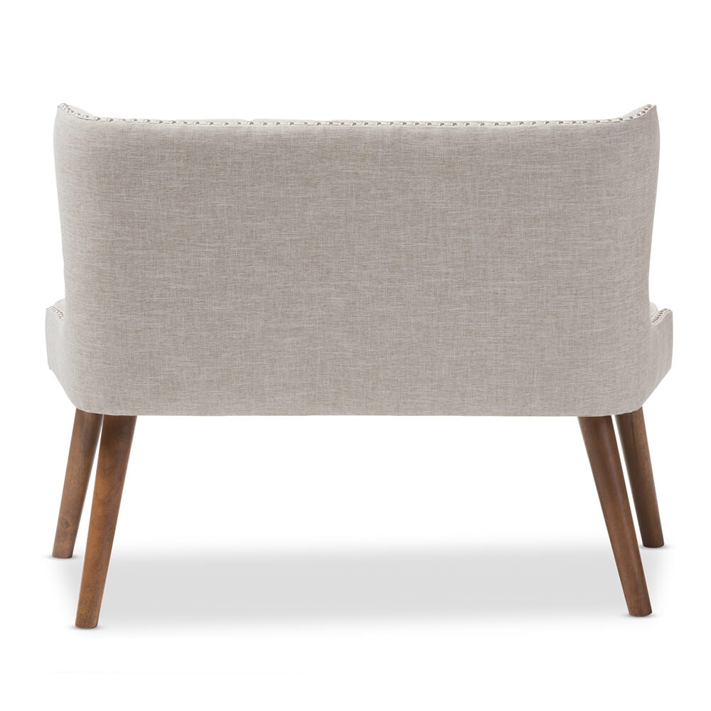 beige fabric tufted loveseat