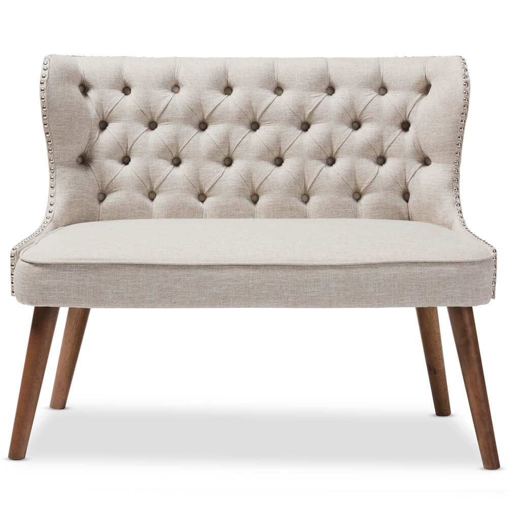 beige love seat tufted