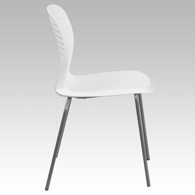 chair curved back white plastic