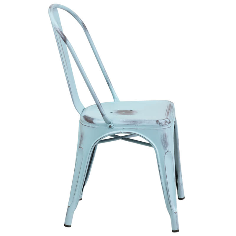 distressed light blue metal chair