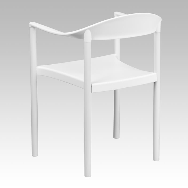 ecru plastic dining armchair white