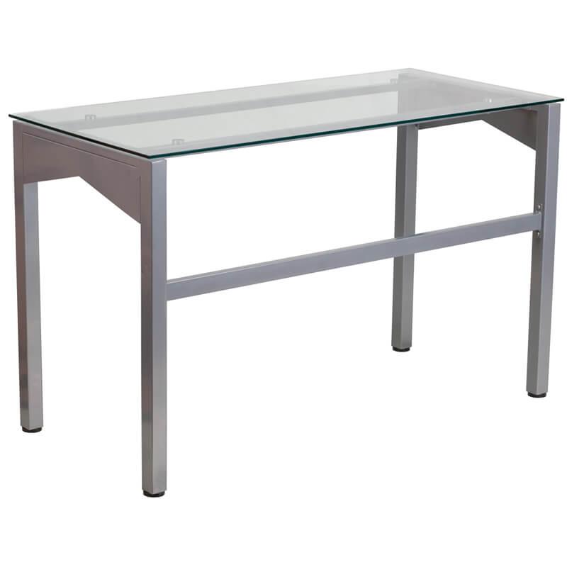glass desk silver base