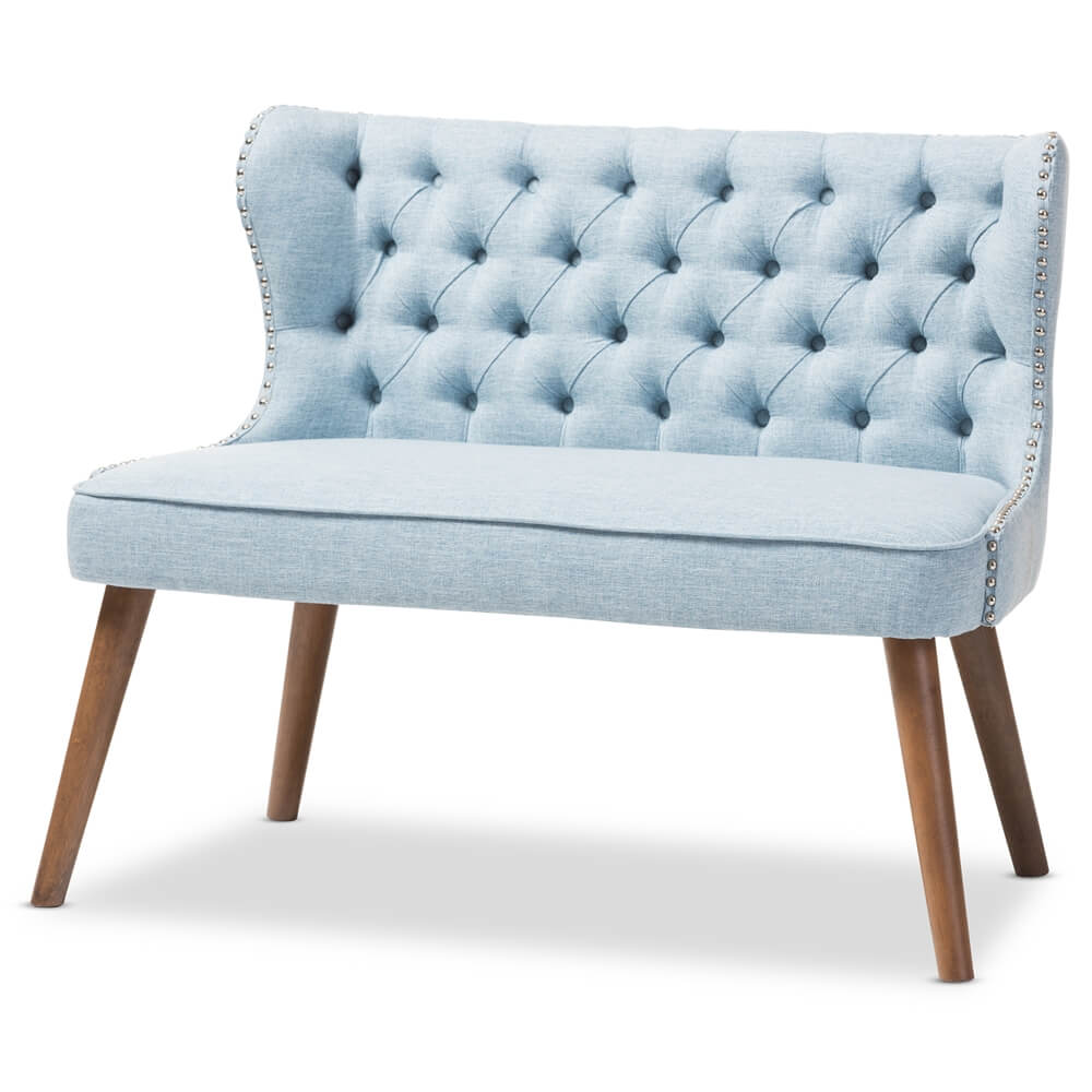loveseat tufted light blue
