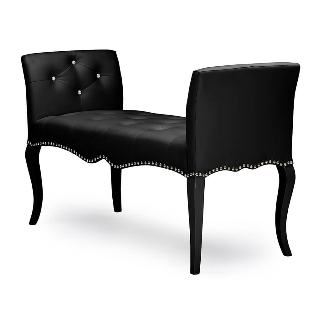 nailhead tufted black leather bench 2