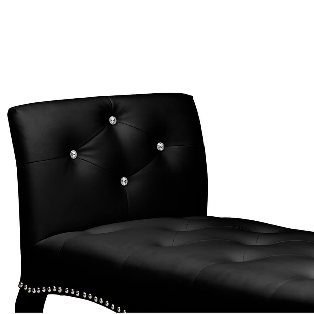 nailhead tufted black leather bench 4