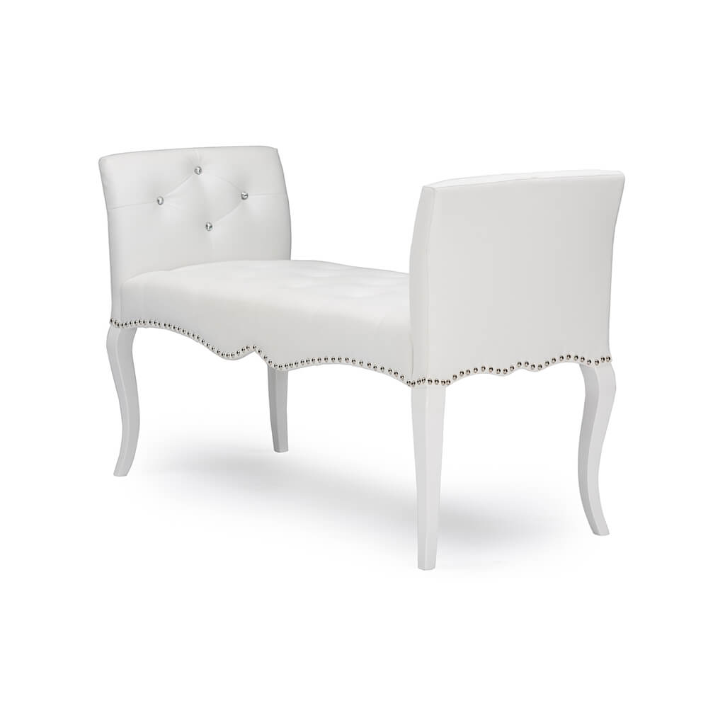 nailhead tufted white leather bench 3